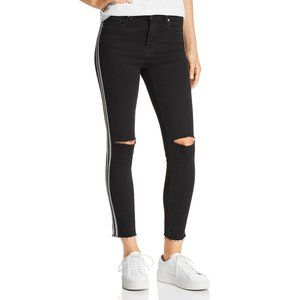 BLANK NYC Black Striped Distressed Cropped Jeans